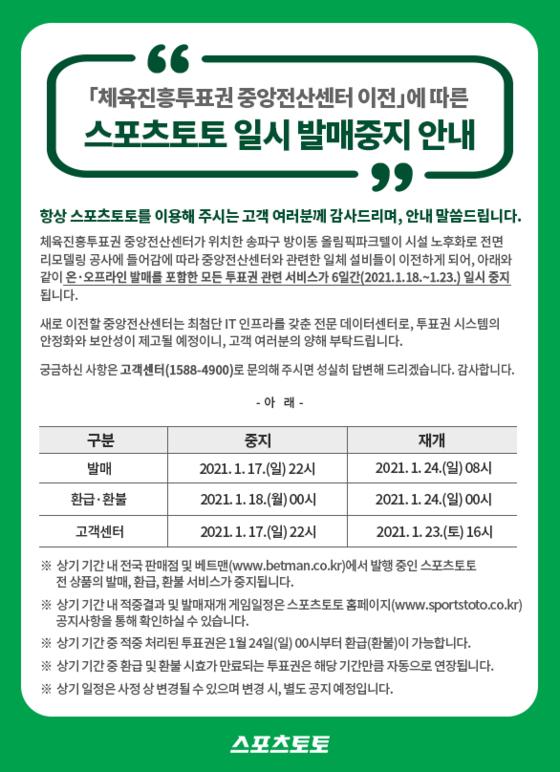 스포츠토토, '중앙전산센터 이전'에 따른 일시 발매 중지