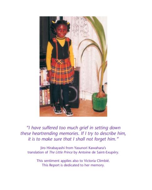 2000년 영국에서 친척의 학대로 숨진 빅토리아 클림비(당시 9세) [영국 레이밍 보고서 캡처]