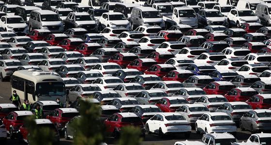현대차 울산공장 선적 부두에서 수출을 기다리는 차량이 줄지어 있다. 뉴스1