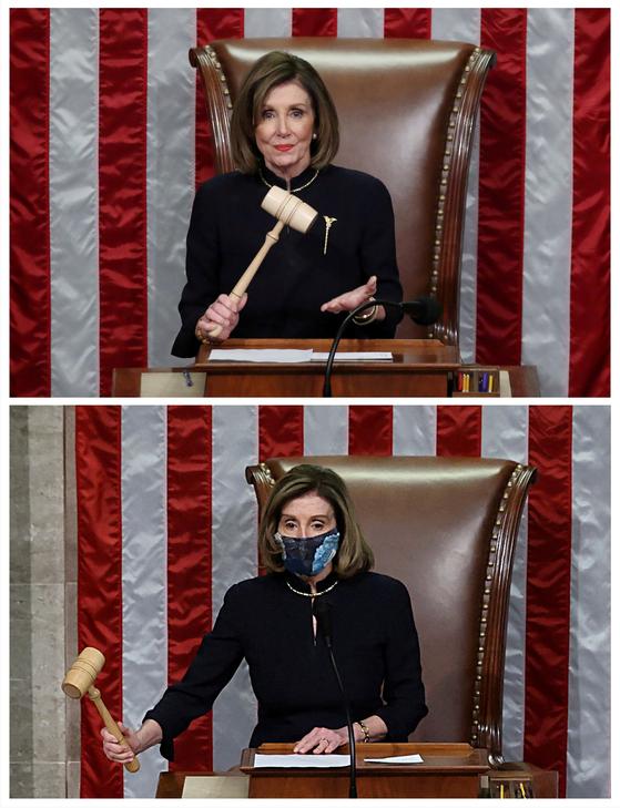 낸시 펠로시 미 하원의장은 13일 상복을 연상시키는 검은 드레스를 입었다. 위의 사진은 2019년 말 트럼프 대통령의 첫 탄핵 당시. [EPA=연합뉴스]