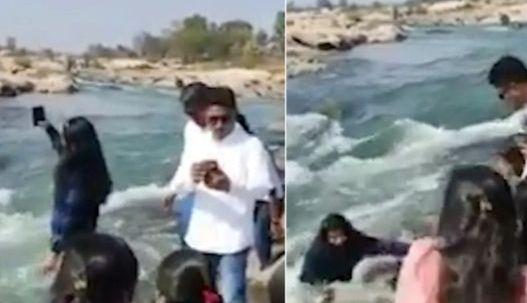 인도에서 한 여성이 폭포 아래에서 사진을 찍다 숨졌다. 뉴욕포스트 캡처