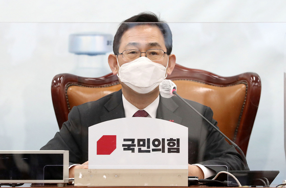 주호영 국민의힘 원내대표가 12일 오후 서울 여의도 국회에서 열린 3차 온택트 정책워크숍에서 모두발언을 하고 있다. 오종택 기자