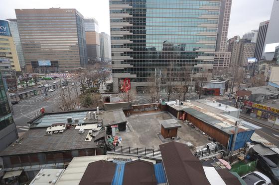 공공재개발 후보지로 지정된 서울 광화문역 인근 종로구 신문로2-12 구역의 모습.[연합뉴스]