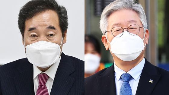 이낙연 더불어민주당 대표(왼쪽)와 이재명 경기지사. 연합뉴스