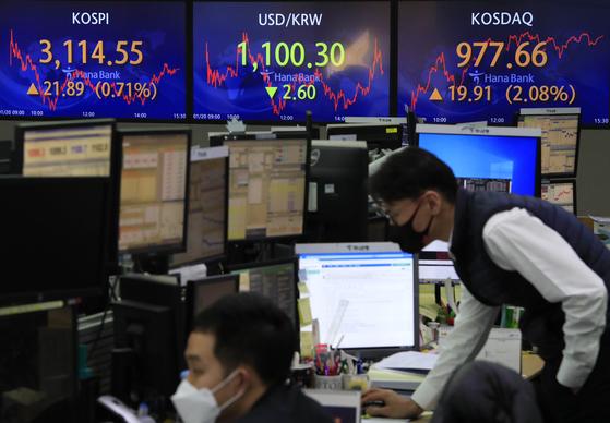 코스피가 전 거래일(3092.66)보다 21.89포인트(0.71%) 오른 3114.55에 마감한 20일 오후 서울 중구 하나은행 딜링룸에서 딜러들이 업무를 보고 있다. 뉴시스