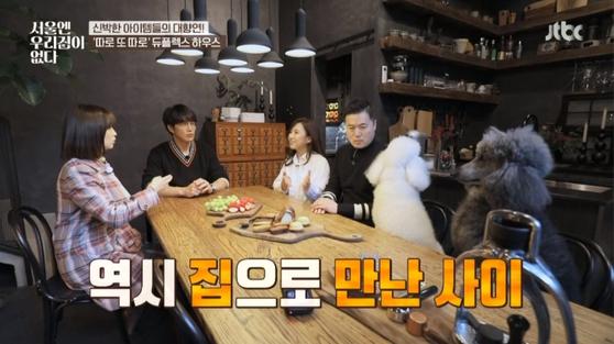 JTBC '서울엔 우리집이 없다'에서 듀플렉스 하우스를 찾아간 박하선과 성시경. [사진 각 방송사]