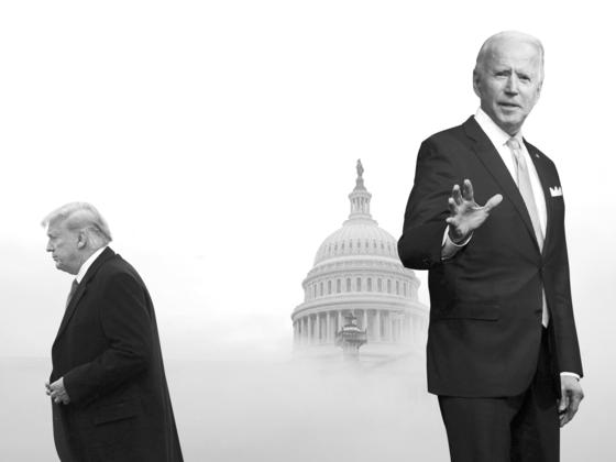 도널드 트럼프 미국 대통령(왼쪽)과 조 바이든 미국 대통령 당선인. 그래픽=신용호