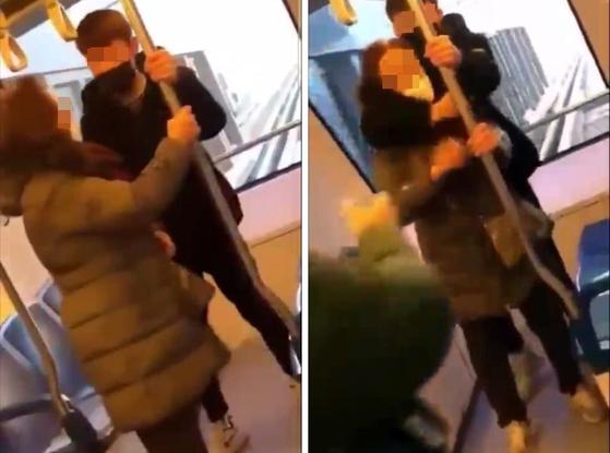 경기 의정부경전철에서 중학생이 여성 노인의 목을 조르는 등 폭행하는 영상이 온라인에서 유포돼 논란이 되고 있다. 연합뉴스