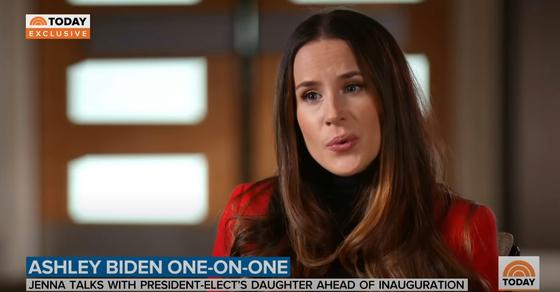 조 바이든 대통령의 외동딸 애슐리 바이든이 19일 NBC와 인터뷰하고 있다. [유튜브 캡처]