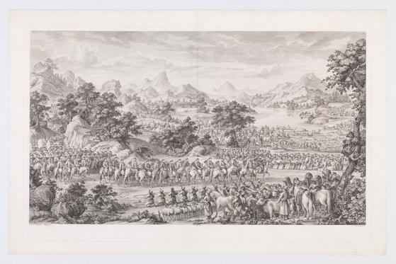 청나라 건륭제가 1769년 중국 북서부 신장 일리 지역을 정복한 뒤 항복을 받는 장면. 이탈리아 예수회 선교사이자 화가인 카스틸리오네(G Castiglione)가 그렸다. [사진 클리블랜드 미술관]