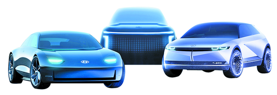 현대차가 올해부터 선보일 전기차. 왼쪽부터 아이오닉 6, 아이오닉 7, 아이오닉 5. 사진 현대차