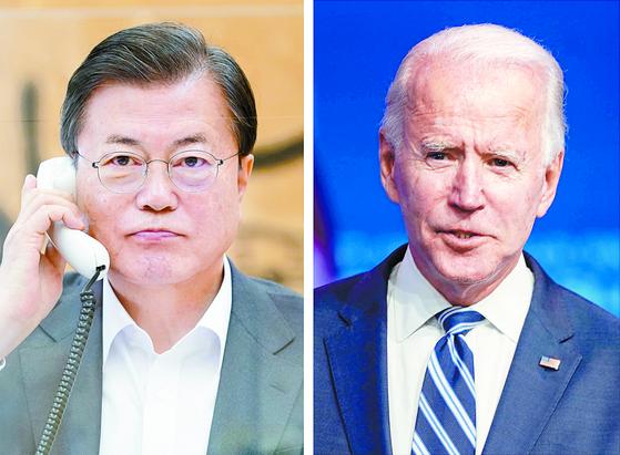 문재인(왼쪽) 대통령과 조 바이든 미 대통령. [연합뉴스]