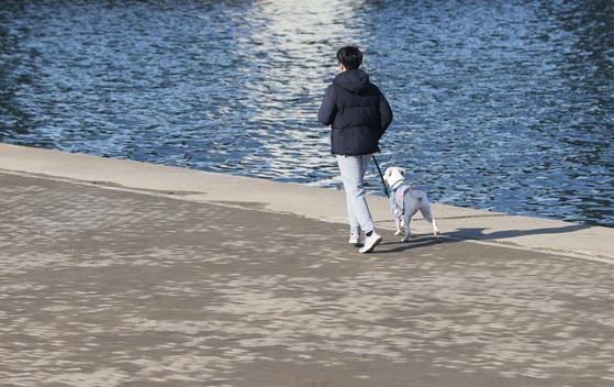 포근한 날씨를 보인 24일 오전 서울 서초구 반포한강공원에서 한 시민이 반려견과 함께 뛰고 있다. 연합뉴스
