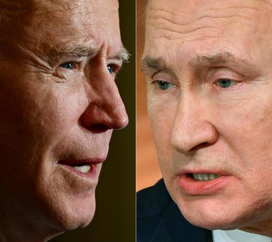 조 바이든 미국 대통령(왼쪽)이 26일(현지시간) 취임후 처음으로 블라디미르 푸틴 러시아 대통령과 전화통화를 했다. 두 정상은 상대국 현안에 문제를 제기하며 신경전을 벌이면서도 핵통제 조약 연장에는 합의했다. [AFP=연합뉴스]