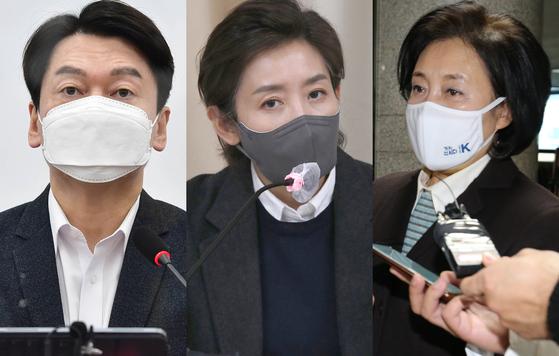 안철수 국민의당 대표(왼쪽부터), 국민의힘 소속 나경원 전 의원, 박영선 전 중소벤처기업부장관. 뉴스1
