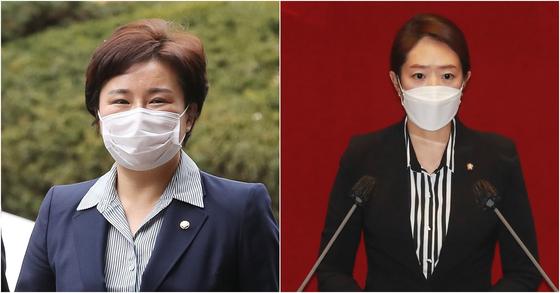 조수진 국민의힘 의원(왼쪽)과 고민정 더불어민주당 의원. 뉴스1