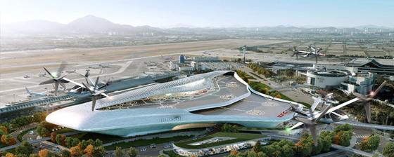 SK텔레콤ㆍ한국공항공사ㆍ한화시스템ㆍ한국교통연구원이 추진하는 UAM 서비스 조감도. 김포공항에 구축을 검토 중인 '버티허브'는 UAM용 터미널인 '버티포트'의 상위 개념으로, UAM과 다른 교통수단을 연결하는 역할을 한다. [사진 한국공항공사]
