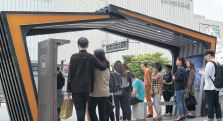 LINC+사업단 가족회사의 기술과 학생 디자인으로 개선한 천안종합버스터미널 앞 유개승강장 [사진 한국기술교육대]