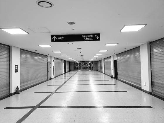 모두 폐점한 27일 고척스카이돔 지하 상가의 모습. 배중현 기자
