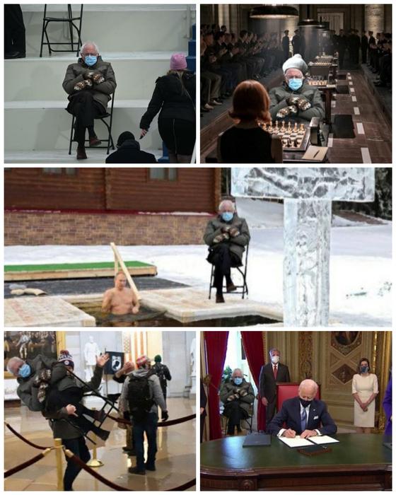 지난 20일(현지 시각) 미국 워싱턴DC 의사당 앞에서 열린 바이든 대통령 취임식에 참석한 버니 샌더스 상원의원. 그의 사진을 이용한 '샌더스 밈(meme) 놀이'들. [AFP=연합뉴스, 트위터 캡처]