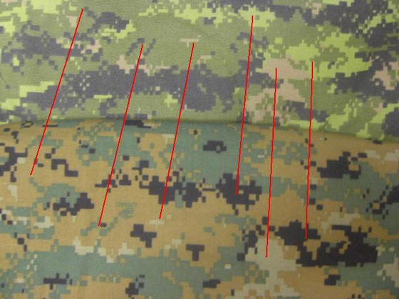 캐나다군의 CADPAT(위)과 미국 해병대의 MARPAT(아래)은 서로 다르지만, 군데군데 똑같은 무늬가 있다. [International Association of Combat & Military Collectors]