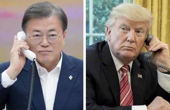 지난해 6월 1일 문재인 대통령이 청와대 관저에서 도널드 트럼프 전 미국 대통령과 통화를 하고 있는 모습. 연합뉴스