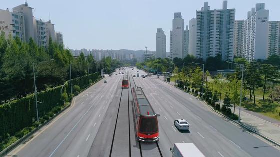 대전시가 제작한 대전도시철도 2호선 트램(노면전차) 홍보영상 가운데 한 장면. [연합뉴스]