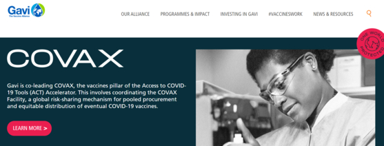 세계 백신공동구매 협의체인 코백스 퍼실리티. 세계백신연합(GAVI)이 주도하며, 감염병예방혁신연합(CEP), 세계보건기구(WHO)와 유니세프 등이 공동으로 운영하고 있다. 저소득 국가를 포함해 전세계 백신의 공정한 접근권을 위해 마련됐다. [홈페이지 캡처]