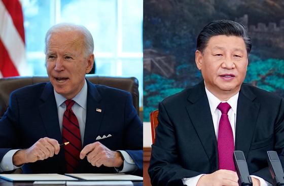 """조 바이든 미국 대통령(왼쪽)은 지난 7일(현지시간) 방송된 미 CBS와의 인터뷰에서 시진핑 중국 국가주석에 대해 """"민주적인 구석이라고는 찾아볼 수 없다""""며 날을 세웠다. 또 """"(중국과) 극한 경쟁이 있을 것""""이라고 예고하며 """"국제적 규칙이라는 수단에 초점을 맞출 것""""이라고 말했다. [AP·신화=연합뉴스]"""