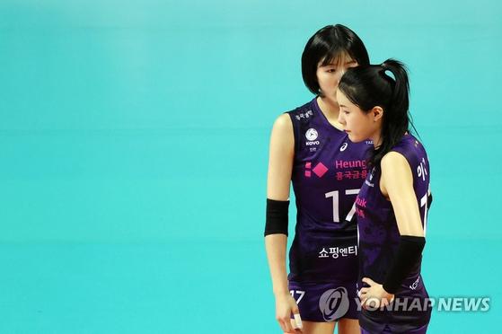 흥국생명의 스타 쌍둥이 자매 이다영(앞)과 이재영 [연합뉴스]