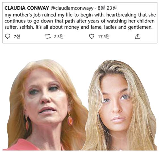 """캘리앤 콘웨이 백악관 선임고문(왼쪽)의 15세 딸 클로디아(오른쪽)가 트윗에 올린 글. """"엄마의 일이 내 인생을 망쳤다. 우리가 수년간 고통받은 것을 보고도 그 길을 가려 한다. 이기적이다""""라고 썼다. [트위터·인스타그램 캡처]"""