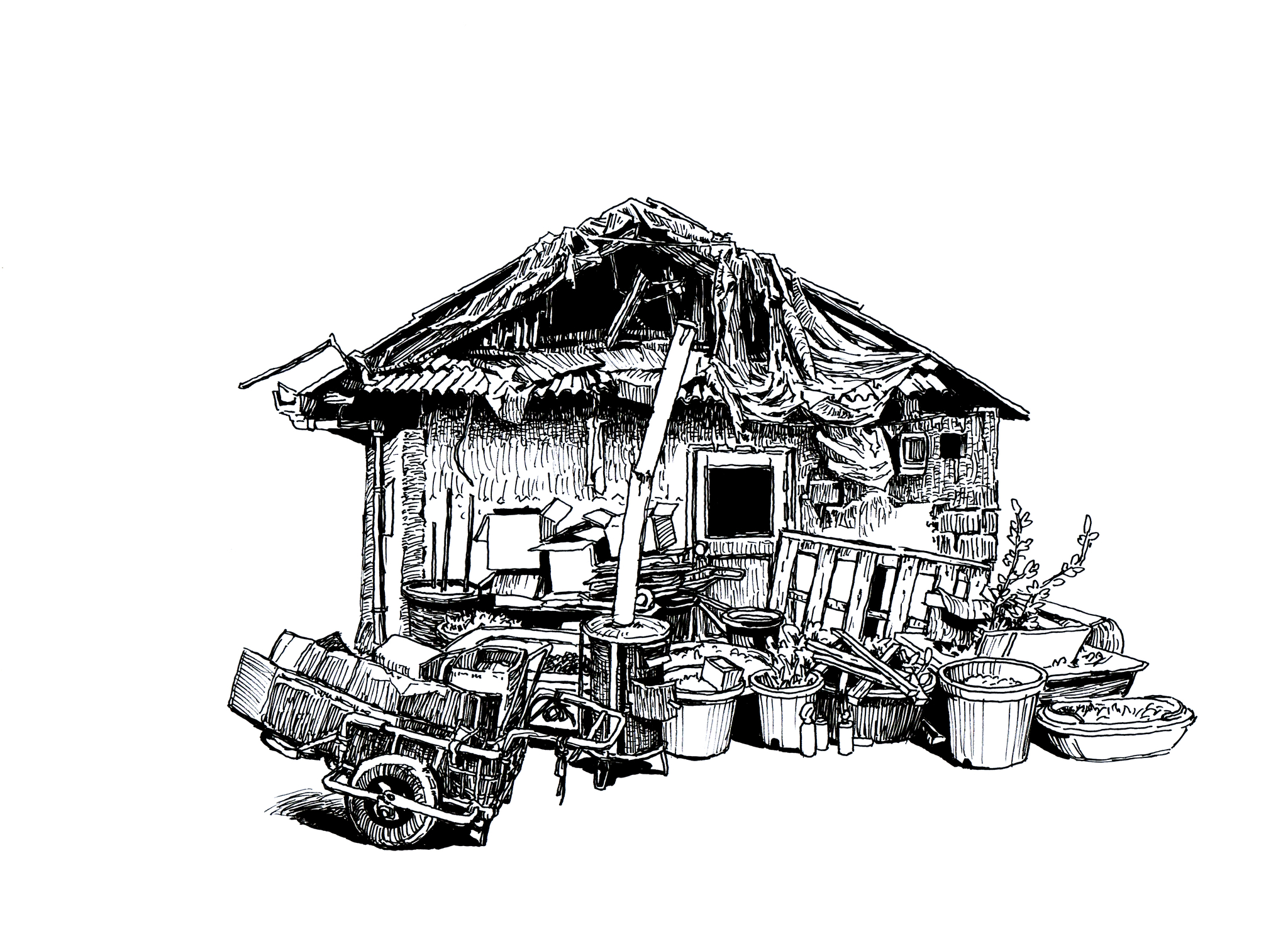 선미촌 골목에 있는 이웃집. 서완호 화가 작품. [사진 물결서사]