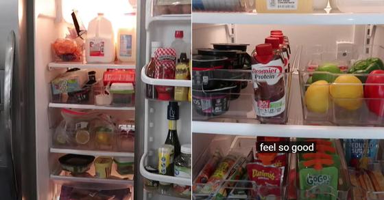 유튜버 Jamie's Journey가 냉장고 청소 노하우를 소개한 영상. 물건이 어지럽게 가득찬 냉장고 안(왼쪽)이 청소 후 깔끔히 정리돼 있다. [유튜브 Jamie's Journey 캡처]
