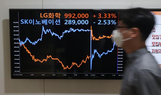 15일 오전 서울 종로 전광판에 표시된 주가 그래프. 연합뉴스