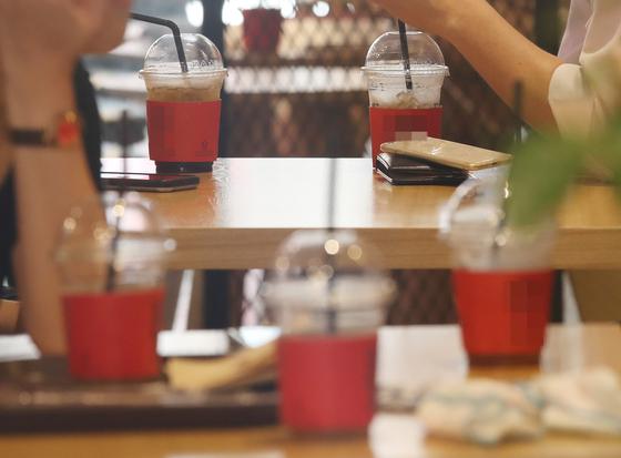 한 카페 내에서 고객들이 일회용 컵을 이용하고 있다. 연합뉴스