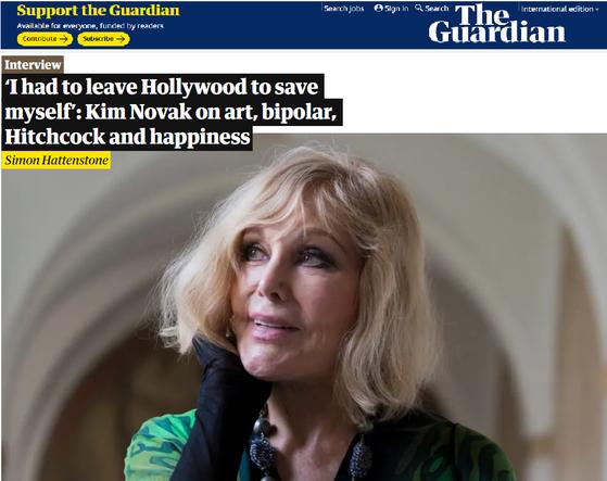 킴 노박은 영국 가디언과의 인터뷰에서 ″나 스스로를 구하기 위해 할리우드를 떠나야했다″고 털어놨다. [가디언 보도 캡쳐]