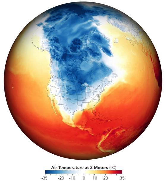 북극에서 내려온 한기로 인해 미 남부 텍사스주가 알래스카 일부 지역보다 낮은 기온을 기록하고 있다. 푸른색이 진할수록 기온이 낮고, 붉은색이 진할수록 기온이 높다. NASA