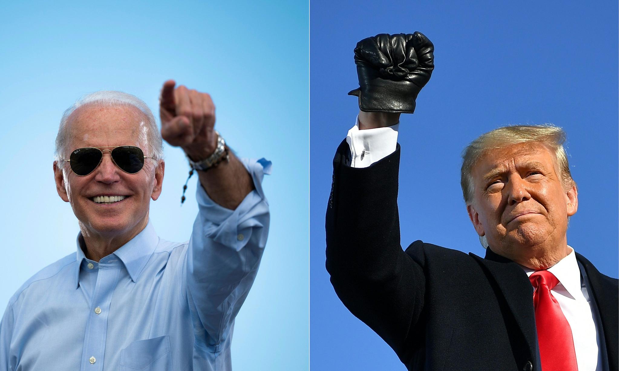 2020년 10월 29일 미국 플로리다 코코넛 크릭에서 유세 중인 바이든(왼쪽). 이해 10월 30일 위스콘신 그린베이에서 유세 중인 트럼프. [AFP=연합뉴스]