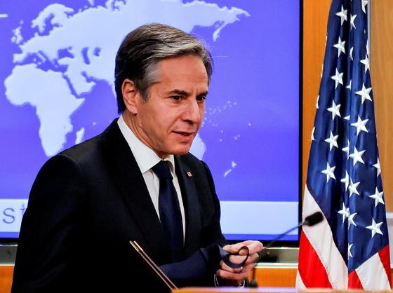 토니 블링컨 미 국무장관은 17일 첫 쿼드 외무장관 회담을 주재했다. [로이터=연합뉴스]