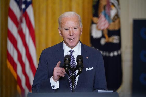 조 바이든 미 대통령이 19일(현지시간) 뮌헨안보회의에서 화상으로 연설하고 있다. AFP=연합뉴스