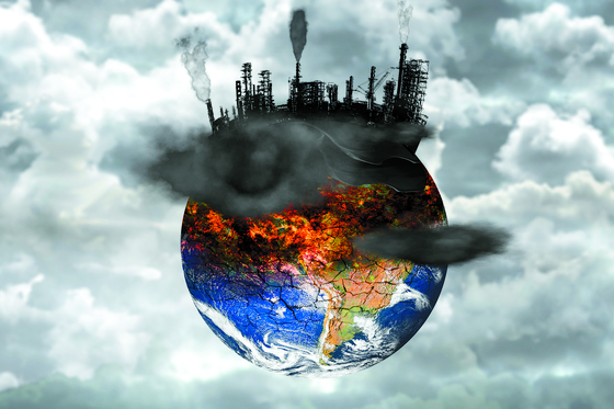 Earth destroyed by pollution. Global catastrophe concept. [Shutterstock]