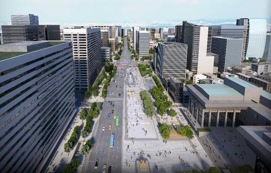 An imagination of Gwanghwamun Plaza after restructuring. [서울시]