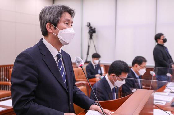 이인영 통일부 장관이 18일 오후 서울 여의도 국회에서 열린 외교통일위원회 전체회의에서 발언을 하고 있다. 오종택 기자