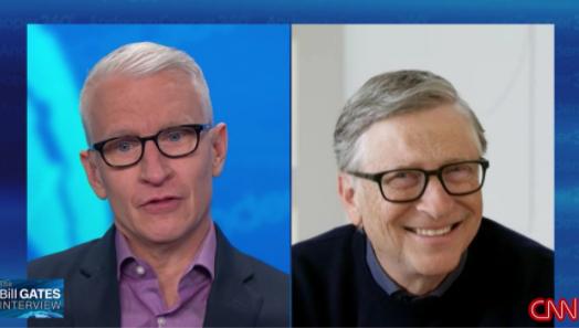 마이크로소프트 창업자 빌 게이츠(오른쪽)가 지난 20일(현지시간) CNN 유명 앵커 앤더슨 쿠퍼와 인터뷰를 했다. [CNN 캡쳐]