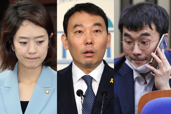더불어민주당 초선 고민정(맨왼쪽)·김용민(가운데)·김남국 의원. 연합뉴스·뉴스1