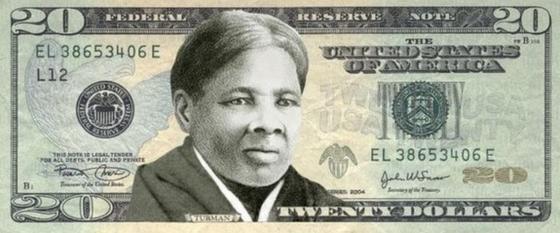 미국 20달러 지폐 앞면에 제7대 앤드루 잭슨 대통령(아래 사진) 대신 해리엇 터브먼의 초상을 넣은 새 도안. [해리엇 터브먼 역사학회]
