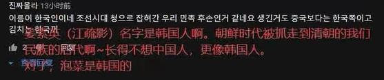 장수잉의 이름을 언급한 한글 댓글을 중국인이 캡처해 중국어 번역을 덧입힌 이미지. 22일 중국 SNS에서 급속히 퍼졌다.[웨이보 캡처]