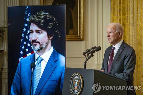 """바이든 """"중국 견제""""에 트뤼도 """"그리웠다""""…이심전심 정상회담"""