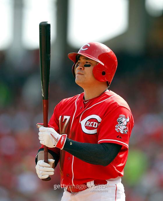 MLB 커리어 동안 리그 수위급 '눈야구'를 선보인 추신수. 최근 타격이 하향세였음에도, 선구안을 바탕으로 한 지표는 굳건했다. 사진은 커리어 하이 출루율을 기록했던 신시내티 시절 추신수. 게티이미지