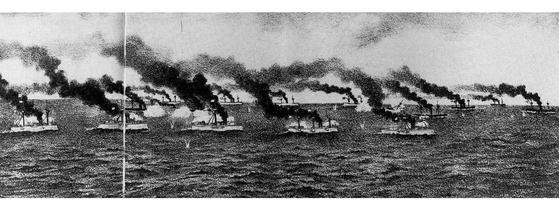 1894년 9월 압록강 부근에서 일어난 서해해전 장면. 청나라 북양함대가 일본 함대에 크게 패했다. [사진 『도설 만주제국』(도쿄·1996)]